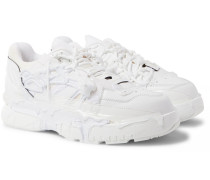 Fusion Rubber-trimmed Distressed Leather Sneakers - White