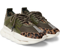 Chain Reaction Panelled Mesh Sneakers - Army green