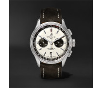 Premier B01 Chronograph 42mm Stainless Steel and Nubuck Watch, Ref. No. AB0118221G1X1