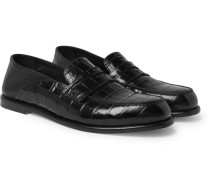 Collapsible-heel Croc-effect And Full-grain Leather Loafers