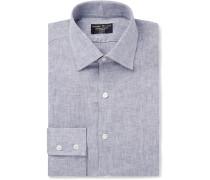 Grey Slim-Fit Mélange Linen-Gauze Shirt