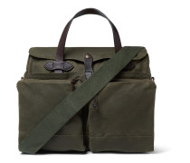 24-Hour Leather-Trimmed Coated-Canvas Briefcase