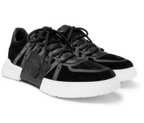 Cerus Neoprene And Leather-trimmed Suede Sneakers - Black