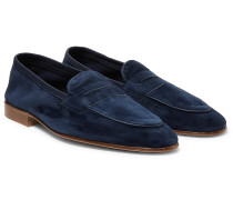Polperro Leather-Trimmed Suede Penny Loafers