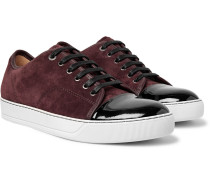 Cap-toe Suede And Patent-leather Sneakers - Burgundy