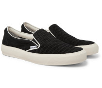 Cambridge Leather-Trimmed Woven Suede Slip-On Sneakers