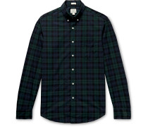 Secret Wash Slim-Fit Button-Down Collar Checked Stretch-Organic Cotton Shirt
