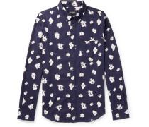 Slim-fit Button-down Collar Printed Cotton Shirt - Navy