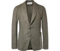 Olive Slim-fit Unstructured Herringbone Linen-blend Suit Jacket