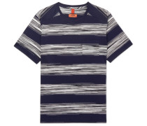 Striped Cotton-jersey T-shirt - Navy