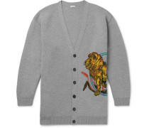 Oversized Intarsia Wool-blend Cardigan - Gray