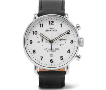 The Canfield Chronograph 43mm Stainless Steel And Leather Watch - White