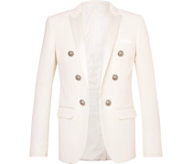 Slim-fit Double-breasted Satin-trimmed Wool-twill Blazer - White