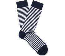 Striped Stretch Cotton-blend Socks - Navy
