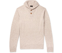 Shawl-collar Mélange Merino Wool-blend Sweater - Cream