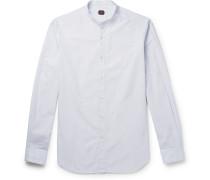 Grandad-collar Striped Cotton Shirt