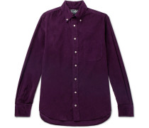 Slim-fit Button-down Collar Cotton-corduroy Shirt - Purple