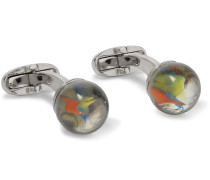 Marble Silver-tone Glass Cufflinks
