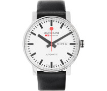 Evo Big Day-date Stainless Steel And Leather Watch