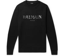 Metallic Logo-print Loopback Cotton-jersey Sweatshirt - Black