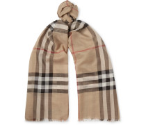 Checked Fringed Wool And Silk-blend Scarf - Tan