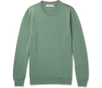 Contrast-tipped Cashmere Sweater - Green