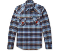 Slim-fit Appliquéd Embroidered Checked Cotton-flannel Shirt - Light blue