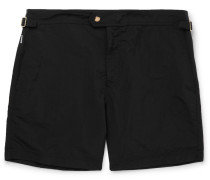 Slim-fit Mid-length Swim Shorts - Black