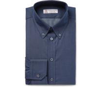 Storm-blue Slim-fit Button-down Collar Cotton And Cashmere-blend Shirt