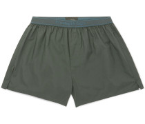 Cotton Boxer Shorts - Dark green