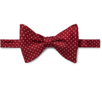 Pre-tied Pin-dot Silk-faille Bow Tie - Red