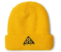 Acg Logo-embroidered Ribbed-knit Beanie - Yellow