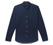 Slim-fit Grandad-collar Cotton-chambray Shirt - Navy
