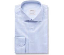 Light-blue Slim-fit Cutaway-collar Striped Cotton-poplin Shirt - Blue