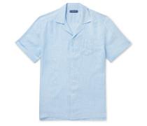 Thomaz Camp-Collar Striped Linen Shirt