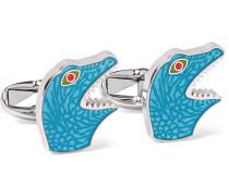 Dinosaur Enamelled Silver-tone Cufflinks