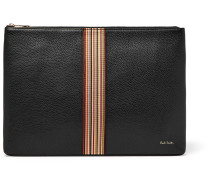 Webbing-trimmed Full-grain Leather Pouch