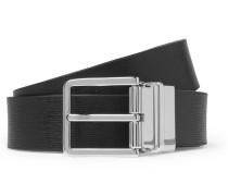 3cm Black And Dark-green Reversible Leather Belt - Black