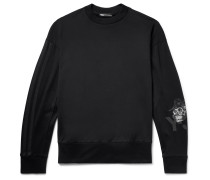 Webbing-Trimmed Embroidered Printed Loopback Cotton-Jersey Sweatshirt