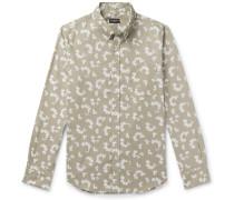 Slim-Fit Button-Down Collar Printed Cotton Shirt