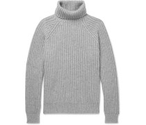 Ribbed Cashmere Rollneck Sweater - Gray