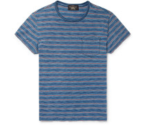 Slim-fit Indigo-dyed Striped Cotton-jersey T-shirt
