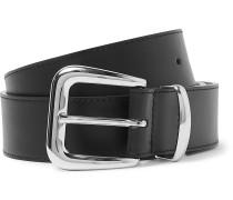 3.5cm Black Leather Belt - Black