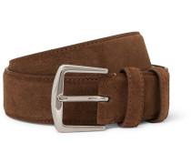 3.5cm Brown Suede Belt - Brown