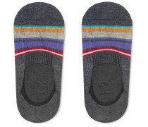 Miami Striped Stretch Cotton-blend No-show Socks - Dark gray