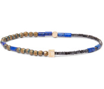 Glass And 14-karat Gold Bracelet - Blue