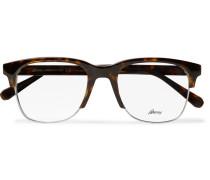 Square-frame Tortoishell Acetate And Silver-tone Optical Glasses - Tortoiseshell