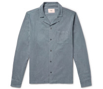 Camp-collar Brushed Lycocell And Cotton-blend Twill Shirt