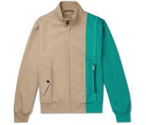 Two-tone Gabardine And Piqué Blouson Jacket - Sand