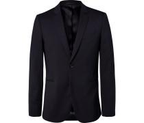 Navy Slim-fit Unstructured Stretch-wool Blazer - Navy